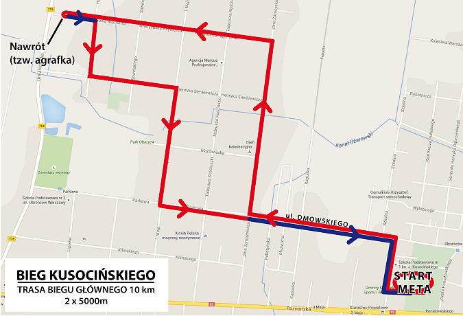 Trasa biegu głównego na 10 km